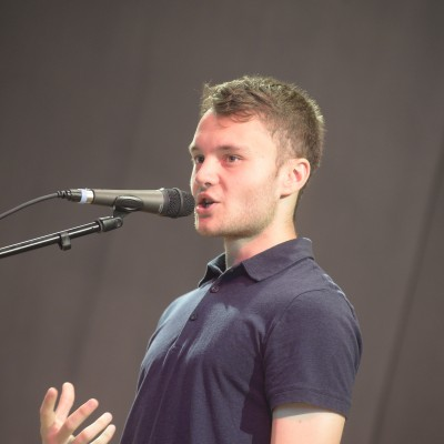 Dominik presenting his poetry – July 2015