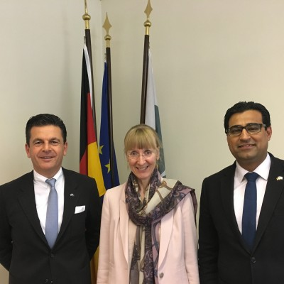 Her Excellency German Ambassador Ina Lepel and Consul Dr. Poetis in Islamabad.