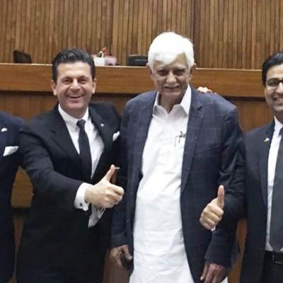 Consul Dr. Poetis, CEO POWERGROUP, with Pericles Poetis, senator Taj Haider, Senate of Pakistan and Murad Mehmood